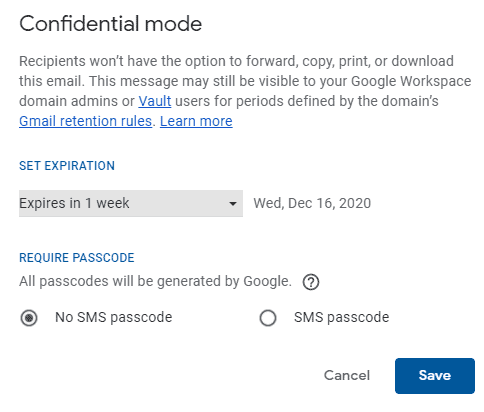 Gmail confidential send options